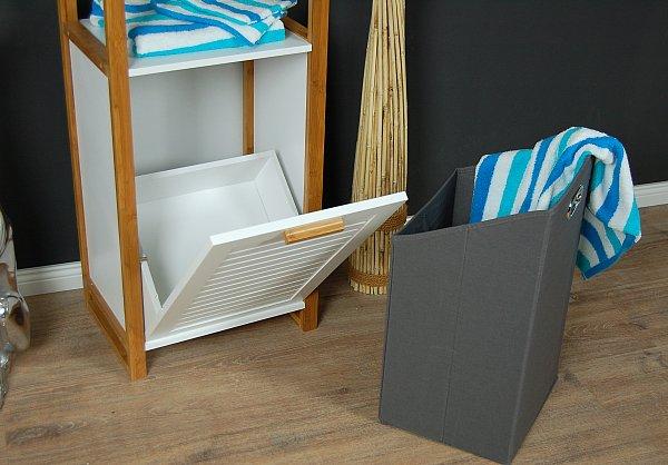 badregal badschrank mit w schetruhe w schekorb bad schrank kommode regal bambus ebay. Black Bedroom Furniture Sets. Home Design Ideas