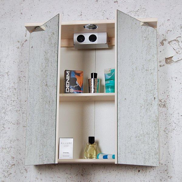Spiegelschrank PIA Landhaus weiß Kiefer massiv Spiegel Wand Bad ... | {Spiegelschrank mit beleuchtung landhaus 55}
