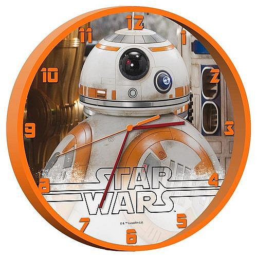 disney star wars vii wanduhr bb 8 droide kinderuhr kinderzimmer uhr 24 cm. Black Bedroom Furniture Sets. Home Design Ideas