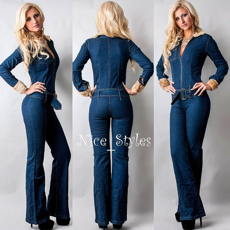 damen vintage hippie schlag jeans overall jeansoverall blau xs s m l 34 36 38 40. Black Bedroom Furniture Sets. Home Design Ideas