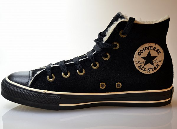converse schuhe chucks all star hi in schwarz gef ttert leder fell 111517 neu ebay. Black Bedroom Furniture Sets. Home Design Ideas