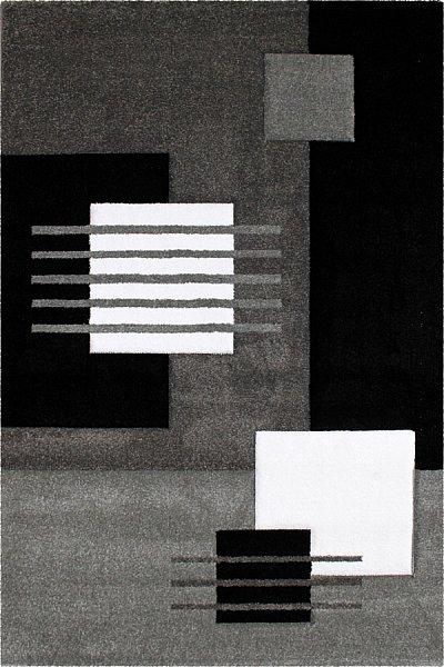 Moderner Designer Teppich Konturenschnitt Formen Grau