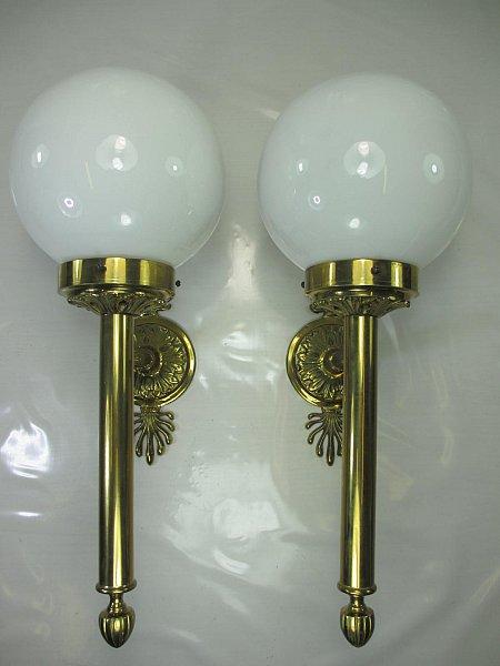 eine vintage messing wandlampe art deco s ulen wandleuchte 41cm gesamt h he ebay. Black Bedroom Furniture Sets. Home Design Ideas