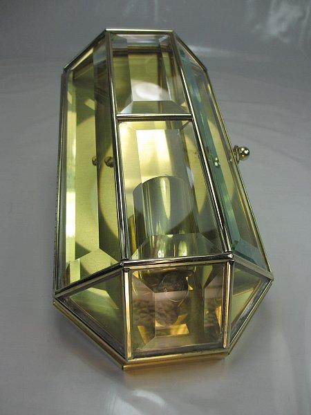1 eine art deco wandleuchte messing wandlampe glasscheiben mit facettenschliff ebay. Black Bedroom Furniture Sets. Home Design Ideas