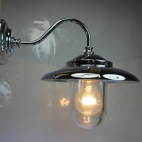 Art deco stil hoflampe verchromtes messing terrassenlampe for Design lampen nachbau