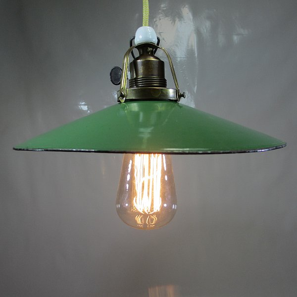 art deco emailleschirm lampe messing halterung drehschalter fassung h ngelampe ebay. Black Bedroom Furniture Sets. Home Design Ideas