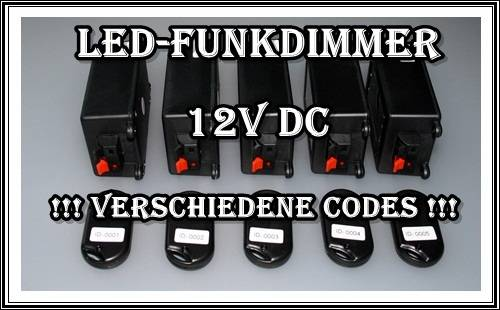 funkdimmer dimmer funk led beleuchtung streifen leiste lampe codiert 12v dc. Black Bedroom Furniture Sets. Home Design Ideas