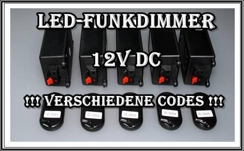 funkdimmer dimmer funk led beleuchtung streifen leiste lampe codiert 12v dc. Black Bedroom Furniture Sets. Home Design Ideas