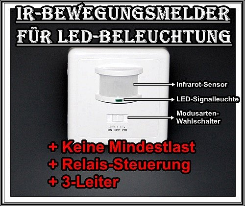 bewegungsmelder f r led beleuchtung schalterdose up 12v dc miniatur 3 leiter ebay. Black Bedroom Furniture Sets. Home Design Ideas