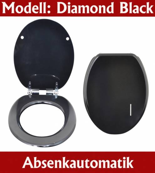 wc sitz toilettensitz toilettendeckel mdf absenkautomatik diamond schwarz ws30 ebay. Black Bedroom Furniture Sets. Home Design Ideas