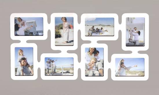 1x fotogalerie collage bilderrahmen fotocollage f r 8 bilder holz wei br11 ebay. Black Bedroom Furniture Sets. Home Design Ideas