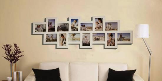 1x bilderrahmen fotogalerie foto collage holz weiß 14 bilder 10x15,