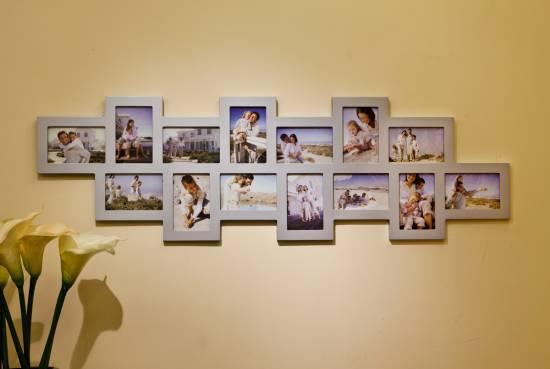 1x bilderrahmen bilder galerie foto collage holz silber 14. Black Bedroom Furniture Sets. Home Design Ideas
