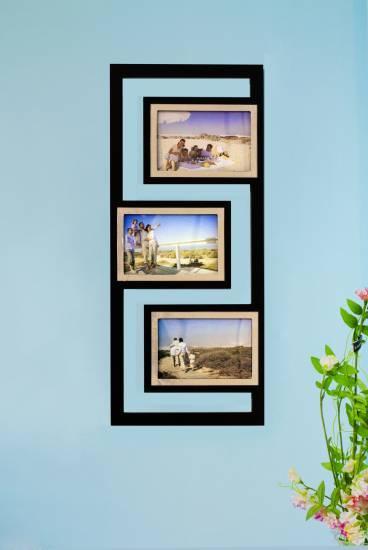1x designer bilderrahmen foto galerie collage holz schwarz. Black Bedroom Furniture Sets. Home Design Ideas