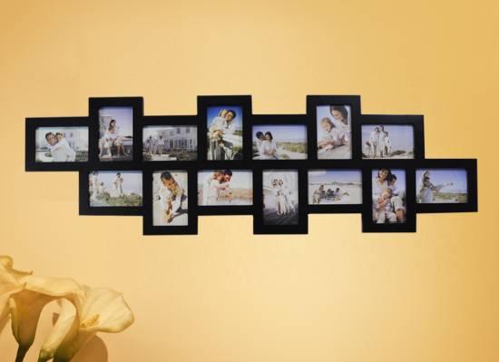 1x bilderrahmen bilder galerie foto collage holz schwarz 14 bilder 10x15 br8351 ebay. Black Bedroom Furniture Sets. Home Design Ideas