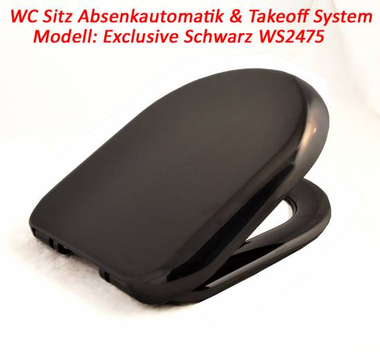 exclusiver wc sitz toilettensitz toilettendeckel absenkautomatik schwarz ws2475 ebay. Black Bedroom Furniture Sets. Home Design Ideas