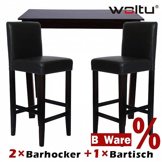 2x barhocker holz schwarz 1x bartisch hochtisch holz for Barhocker und bartisch