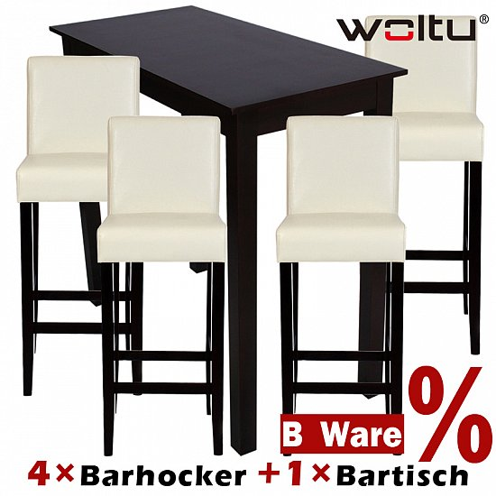 4x barhocker holz wei 1x bartisch hochtisch holz braun. Black Bedroom Furniture Sets. Home Design Ideas