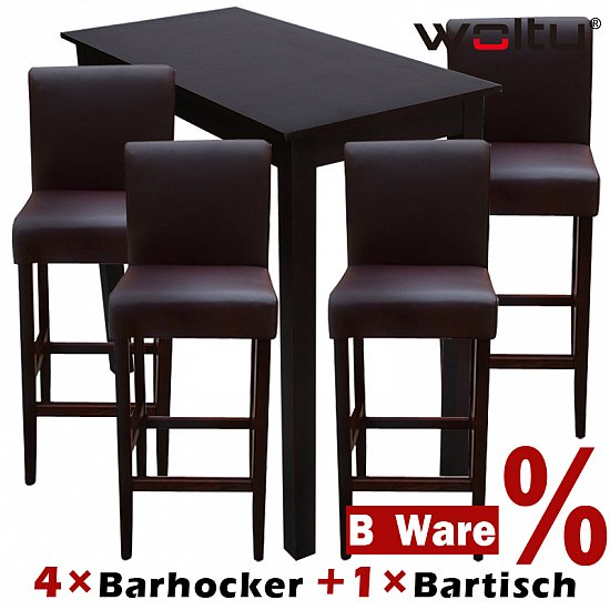 4x barhocker holz braun 1x bartisch hochtisch holz braun set 9123 9201 ebay. Black Bedroom Furniture Sets. Home Design Ideas