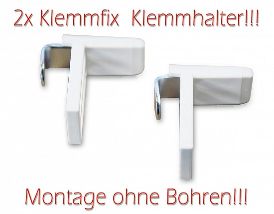 klemmfix 2x klemmhalter jalousie ohne bohren an fenster t ren wei vh8003 ebay. Black Bedroom Furniture Sets. Home Design Ideas