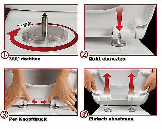 wc sitz toilettendeckel klodeckel absenkautomatik toilettenbrille wc deckel 62 ebay. Black Bedroom Furniture Sets. Home Design Ideas