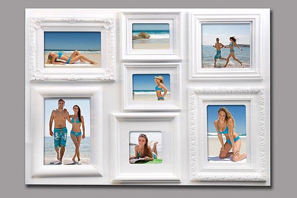 bilderrahmen fotogalerie 7 bilder kunststoff bildergelarie collage weiss br9732 ebay. Black Bedroom Furniture Sets. Home Design Ideas