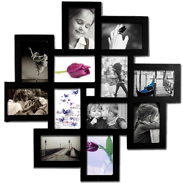 rahmen bilderrahmen fotorahmen holz 12 bilder bildergalerie 10x15 schwarz 9345 ebay. Black Bedroom Furniture Sets. Home Design Ideas