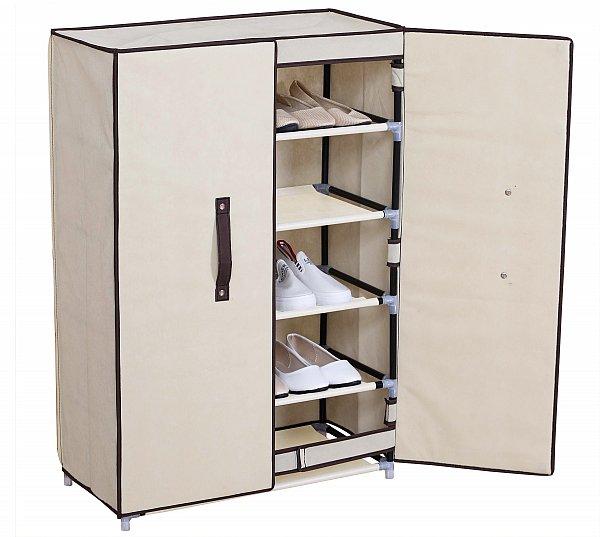stoff textil schuhschrank mit fl gelt r faltschrank schrank creme weiss ss5021be ebay. Black Bedroom Furniture Sets. Home Design Ideas