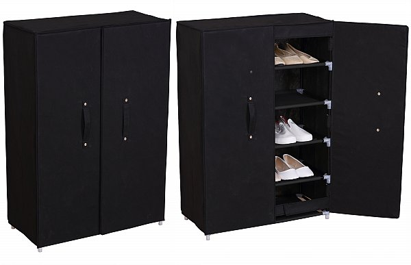 schuhschrank stoff textil mit fl gelt r faltschrank schrank schwarz ss5021sz ebay. Black Bedroom Furniture Sets. Home Design Ideas
