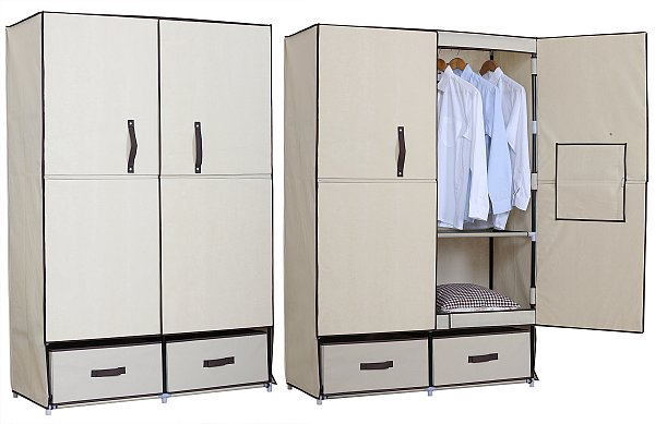 stoff textil kleiderschrank mit fl gelt r faltschrank creme weiss ss5023be ebay. Black Bedroom Furniture Sets. Home Design Ideas