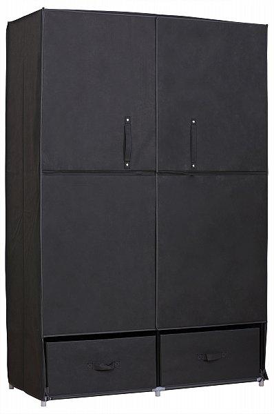 kleiderschrank stoff textil faltschrank schrank mit fl gelt r grau ss5023gr ebay. Black Bedroom Furniture Sets. Home Design Ideas