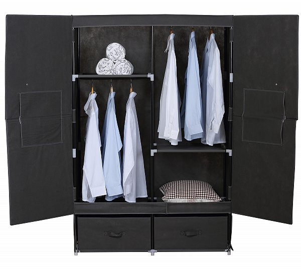 kleiderschrank stoff textil faltschrank schrank mit fl gelt r grau ss5023gr ebay. Black Bedroom Furniture Sets. Home Design Ideas