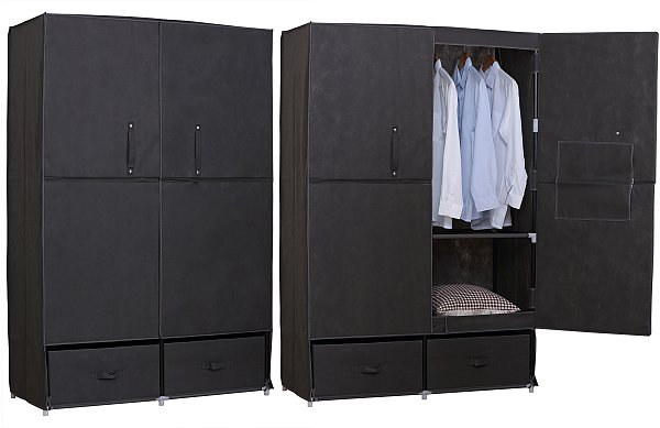 kleiderschrank garderobenschrank faltschrank camping stoff xxl klein grau 173 2 ebay. Black Bedroom Furniture Sets. Home Design Ideas