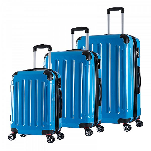 reisekoffer hartschalenkoffer trolley reise koffer 4 rollen blau l rk4212bl l ebay. Black Bedroom Furniture Sets. Home Design Ideas