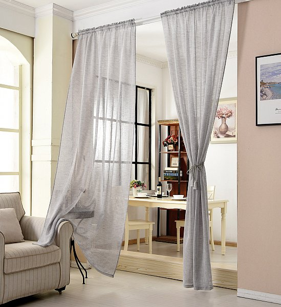 gardinen stores kr uselband vorh nge transparent schal voile leinen optik 630 ebay. Black Bedroom Furniture Sets. Home Design Ideas