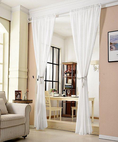 gardinen stores kr uselband vorh nge transparent schal voile leinen optik 630 ebay. Black Bedroom Furniture Sets. Home Design Ideas