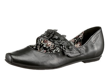 tamaris 7223 ballerina neu gr 36 schwarz echt leder riemchen schuhe slipper ebay. Black Bedroom Furniture Sets. Home Design Ideas