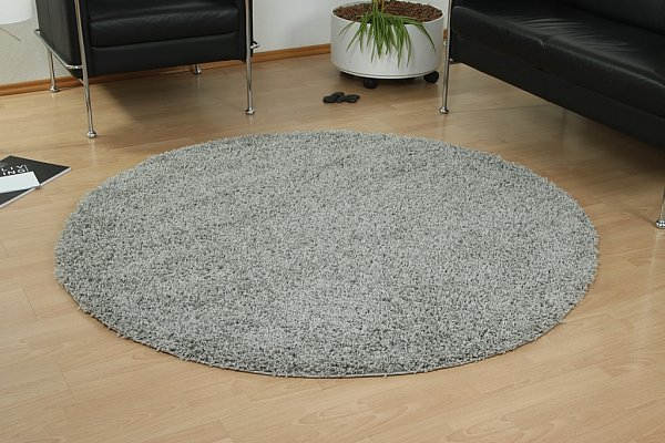 hochflor teppich shaggy langflor uni silber grau rund 160x160cm ebay. Black Bedroom Furniture Sets. Home Design Ideas