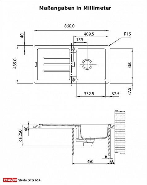 set franke granit sp le strata 86 x 43 5 cm armatur 750. Black Bedroom Furniture Sets. Home Design Ideas