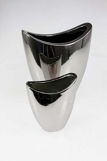 2 vasen vase tischvase blumenvase silber chrom modern edel designer 26 16cm hoch ebay. Black Bedroom Furniture Sets. Home Design Ideas