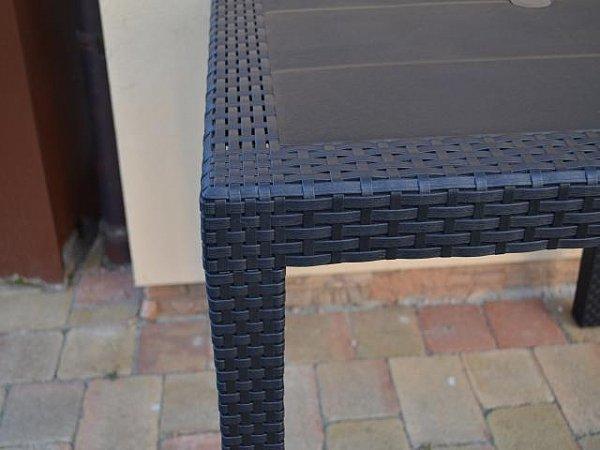 gartentisch rattan terrassentisch esstisch balkontisch 150x90x72 cm schwarz 0360 ebay. Black Bedroom Furniture Sets. Home Design Ideas