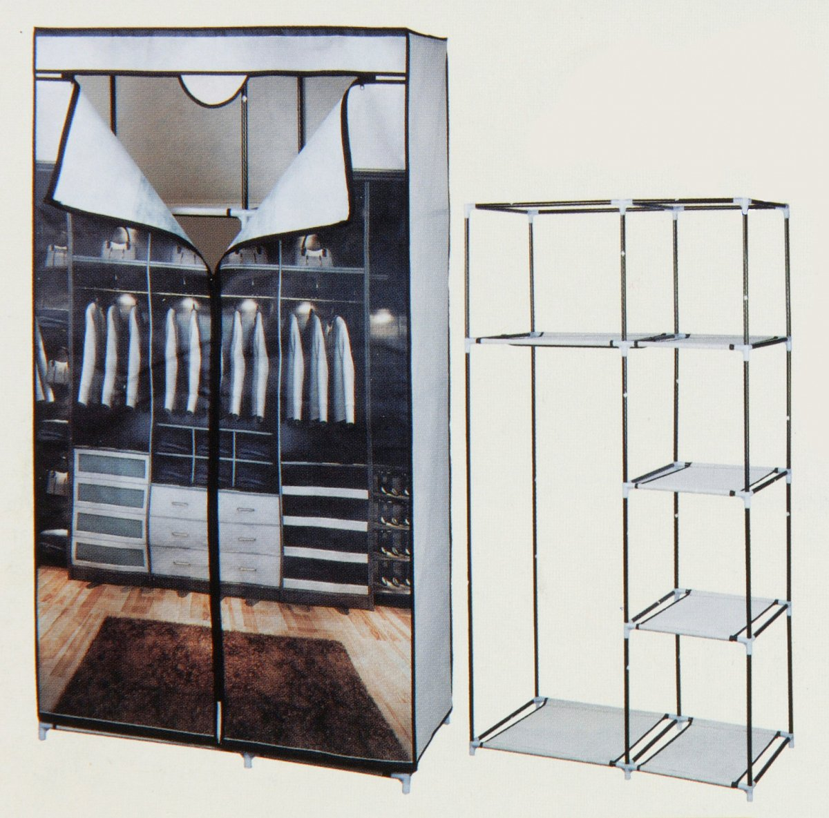 kleiderschrank schrank faltschrank stoff textilschrank camping motivdruck m040 ebay. Black Bedroom Furniture Sets. Home Design Ideas