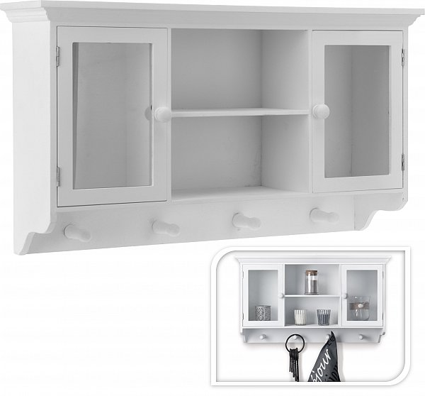 wandgarderobe k chenschrank garderobe n120 hakenleiste wandregal glas 60x15x34 ebay. Black Bedroom Furniture Sets. Home Design Ideas