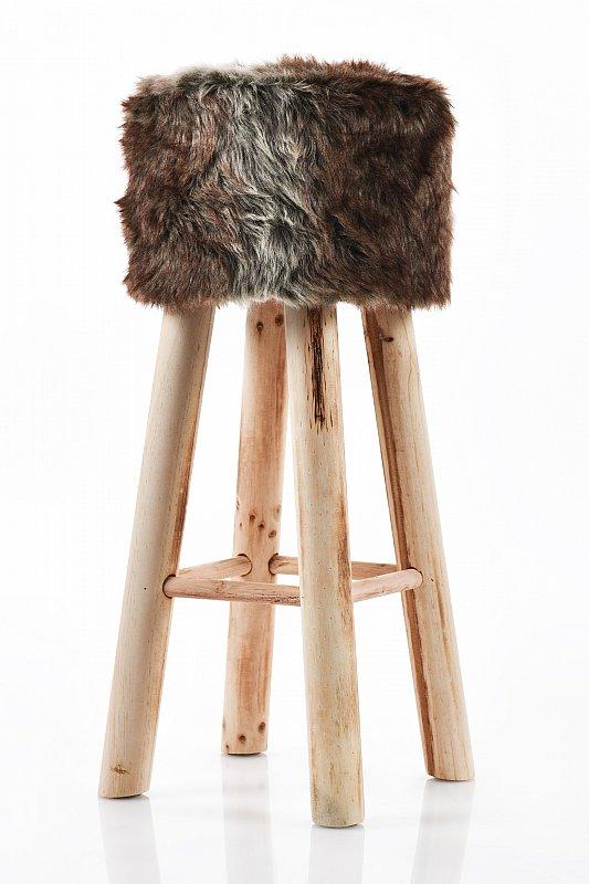 barhocker barstuhl stuhl fellhocker polsterhocker vintage 70 cm braun u101 ebay. Black Bedroom Furniture Sets. Home Design Ideas