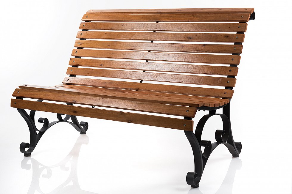 gartenbank bank parkbank holzbank x250 metall holz 122 x 85 cm ebay. Black Bedroom Furniture Sets. Home Design Ideas