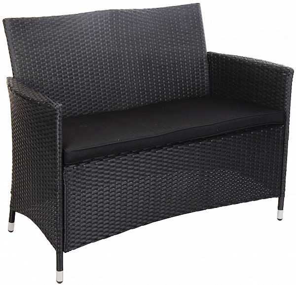 gartenbank parkbank bank sitzbank terrassenbank rattan schwarz y6000 ebay. Black Bedroom Furniture Sets. Home Design Ideas