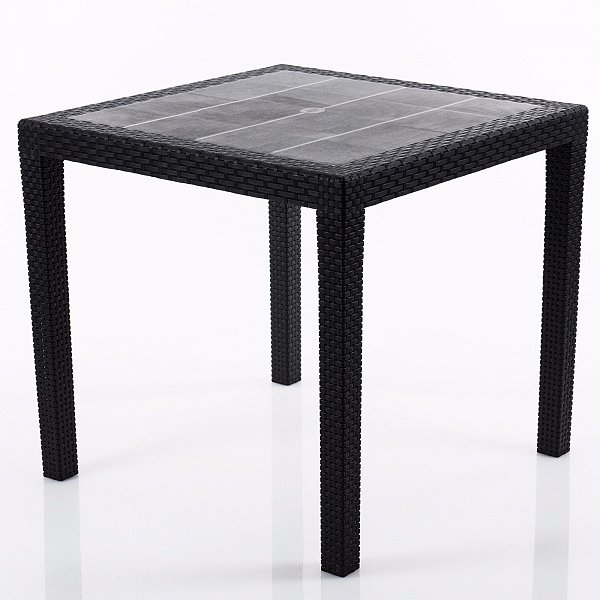 gartentisch terrassentisch balkontisch beistelltisch rattan optik schirmloch ebay. Black Bedroom Furniture Sets. Home Design Ideas
