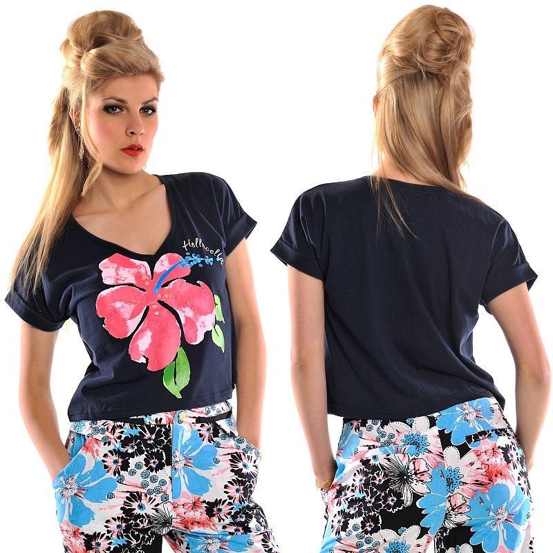 crop top basic shirt bauchfrei blumenprint t shirt kurz oberteil freizeit bluse ebay. Black Bedroom Furniture Sets. Home Design Ideas
