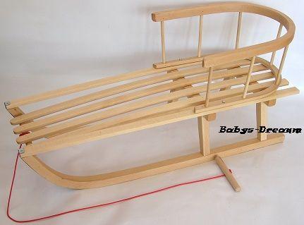 holzschlitten mit r ckenlehne lehne schlitten aus holz kinderschlitten neu baby ebay. Black Bedroom Furniture Sets. Home Design Ideas