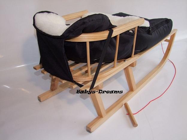holzschlitten mit r ckenlehne winterfu sack lammwolle schlitten wintersack ebay. Black Bedroom Furniture Sets. Home Design Ideas